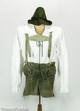 Lederhosen Authentic German Men's Vintage Gray Leather Button Fly Shorts 28-30