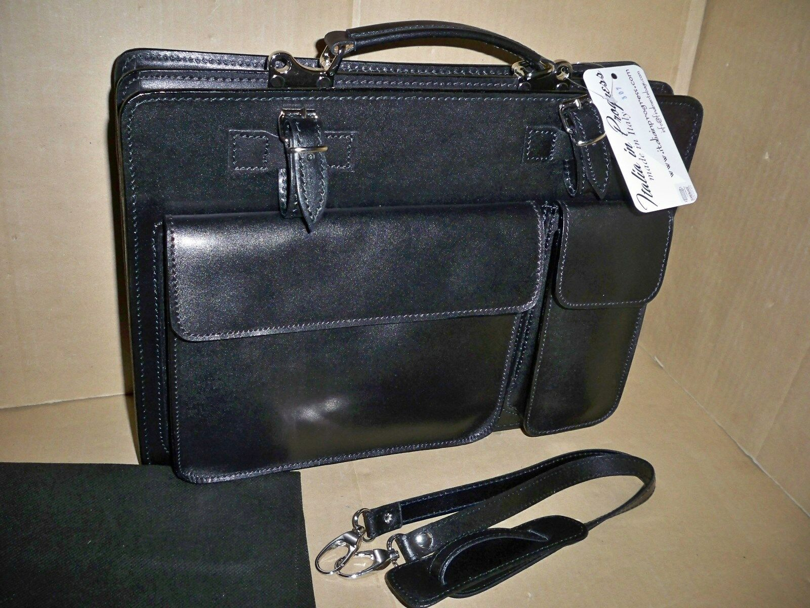 Große Aktentasche Laptoptasche  - Schwarz ITALIA in PROGRESS Handmade | Gute Qualität  | Einfach zu bedienen  | Modernes Design