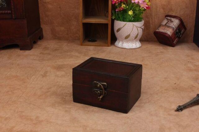 Decorative Trinket  Jewelry Storage Chest Vintage Wooden Small Box Gift Case