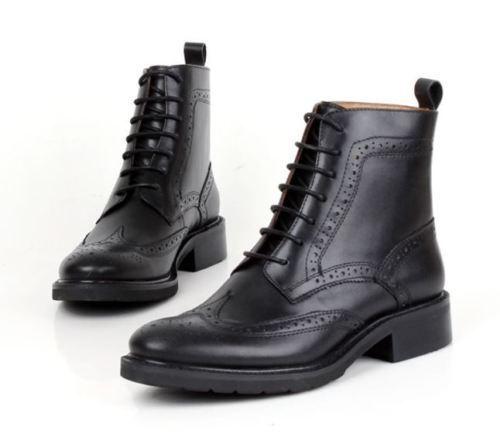 ventas calientes Oxford De Mujer Estilo Estilo Estilo Retro Genuino Cuero Con Cordones Brogue botas al Tobillo Punta De Ala  tienda de venta