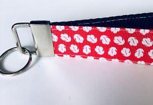Key Fob Chain Holder Wrist Lanyard Strap Disney Heartbeat Mickey Love Red Heart