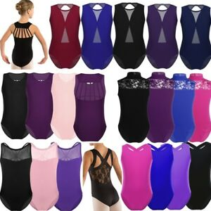 3-14-Aged-Girls-Gymnastics-Ballet-Dance-Leotard-Bodysuit-Sports-Gym-Outfit-Tank