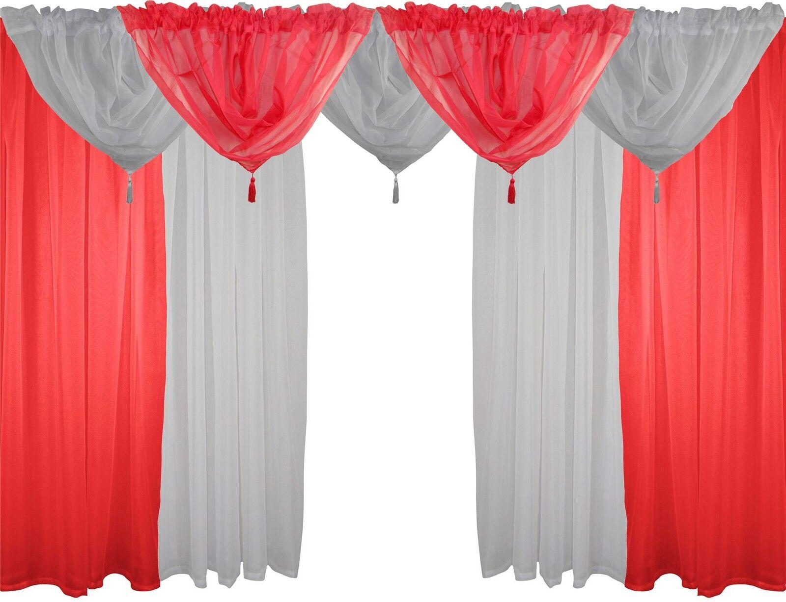 Rosso e Bianco 9 Pezzi Velo Set 229cm Canale Bordo Superiore per Bastone Tende