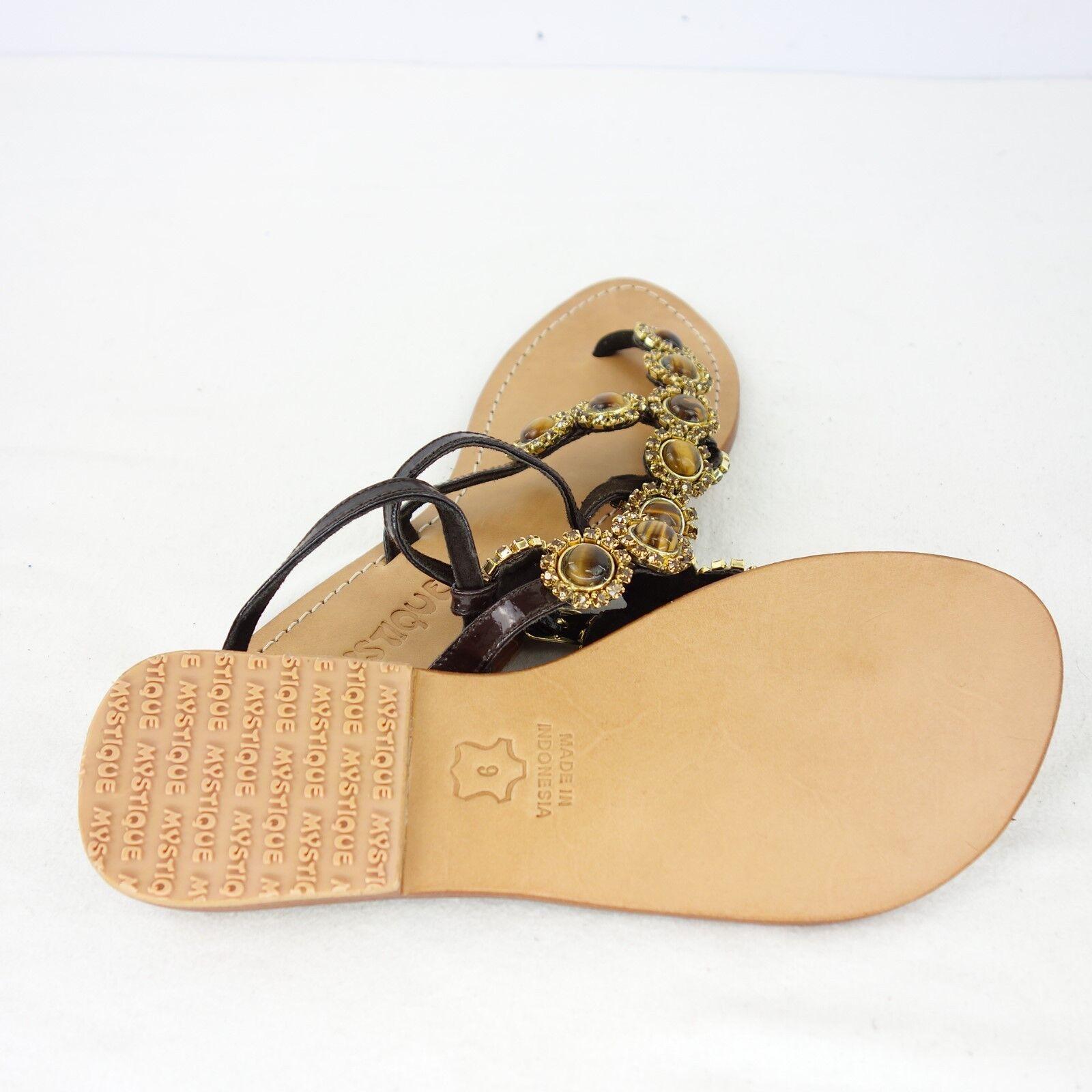 MYSTIQUE Damen 40 Sandalen Zehentrenner Schuhe Gr 40 Damen 42 Leder Ziersteine NP 219 NEU 8e31db
