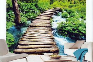 Fototapete-Bruecke-Steg-Wald-Fluss-Wasser-254x366-XXL-Wand-Bild-Tapete-Fototapeten
