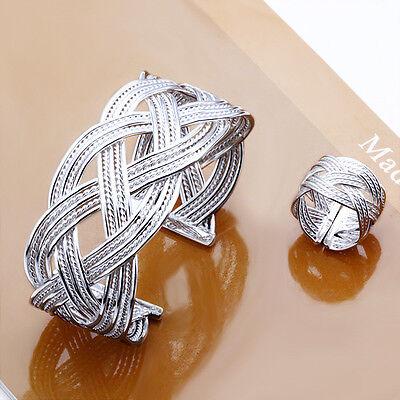 925 Sterling Silver SP Large Net Mesh Bracelet+Ring Set Size: Open