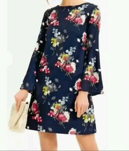 7cbb9dbe5bd0 Beautiful floral print Navy Fluted Bell Sleeve Dress size 8 tall new ...