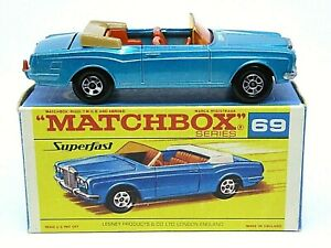 Matchbox-Lesney-No-69c-Rolls-Royce-Silver-Shadow-039-F2-039-Caja-Negra-script-Superfast