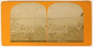 Panorama Da Napoli Italia Foto Stereo PL55L4n Vintage Albumina c1880