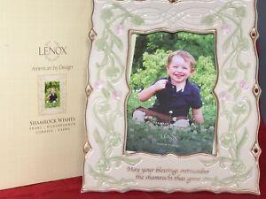 LENOX-SHAMROCK-WISHES-4x6-034-Picture-Frame-Ireland-Irish-Pride-St-Patrick-843803