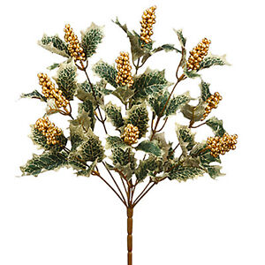 17-034-Holly-Berry-Bush-Gold-Berries-amp-Accents-Christmas-Flowers-Holiday-Decoration