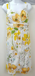 Alex-Marie-Dress-Yellow-Floral-Knee-Length-Sleeveless-A-Line-Polyester-Size-16