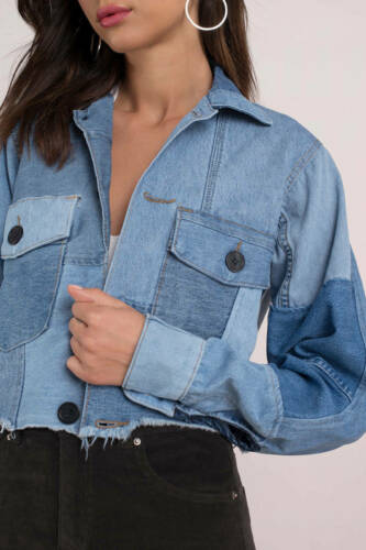 DAYDREAMER Women's Cropped Patchwork Denim Jean Jacket Blue Size MEDIUM