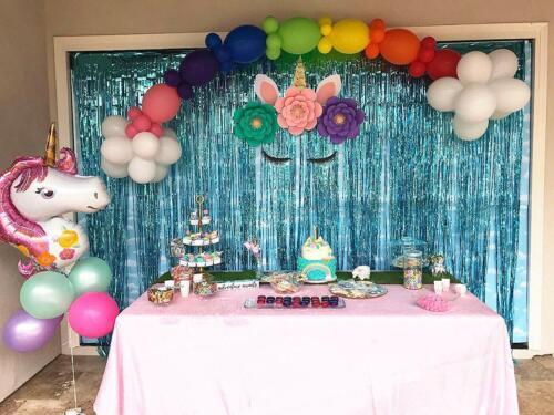 5 x OCEAN BLUE Shimmer Foil Door Curtain 1m x 2m Curtains Party Decoration