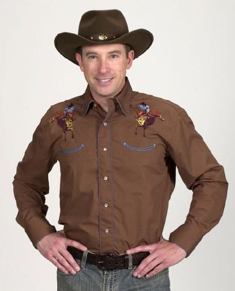 New Men's Western Express Brown Bull rider Show Shirt Size 4XL