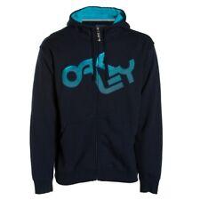 New Oakley Retro Fade Hoody Hooded Sweatshirt Men's Large Blue Hoodie Full Zip
