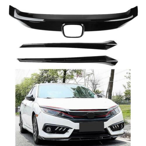 Vivid Black Grill For Honda Civic 2016-19 Front Upper Grille Cover Molding Trim
