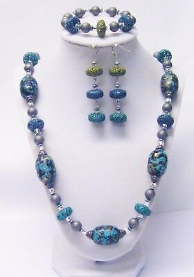 Energetic Chunky Barrel Acrylic /lantern Ox Turquoise Bead Necklace/bracelet/earrings Pure And Mild Flavor Fashion Jewelry Jewelry Sets