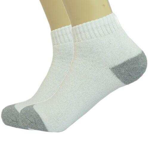 3-12 Pairs Ankle Quarter Crew Mens Sports Socks White 2 Tones Cotton Size 9-13