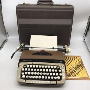 Smith Corona Galaxie Twelve 12 Typewriter Brown Tan W/ Case Tested Working Clean