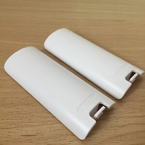 2x-OFFICIAL-Nintendo-Wii-White-Battery-Cover-Case-Back-for-Remote-Controller