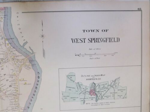 MAP THAT WAS REMOVED FROM THE 1894 ATLAS MA Details about  /WEST SPRINGFIELD