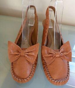 dc4e8640ab9c3e M&S Ladies Shoes 6 39 Tan Slingbacks Bow Kitten Heel Blogger Fashion ...
