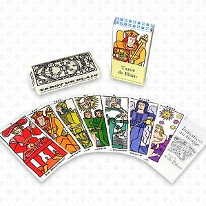 Tarot-de-Blain-et-livret-initiation-style-Marseille-22-arcanes-mini-pocket
