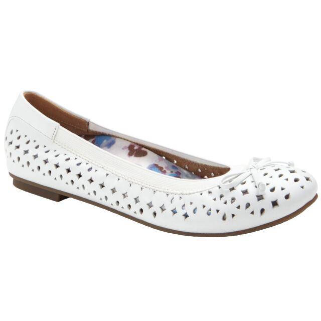 0146615804cf9 Vionic 359 Spark Surin White Womens Leather Ballet Flats Ballerinas Shoes