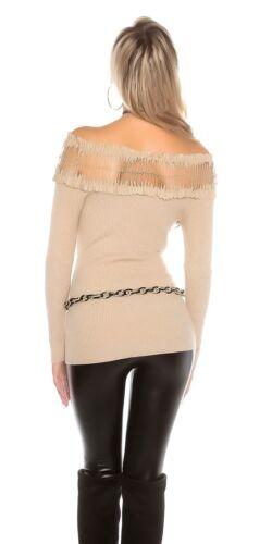 KOUCLA Maglione Maglione Pullover sweater con scollo carmen