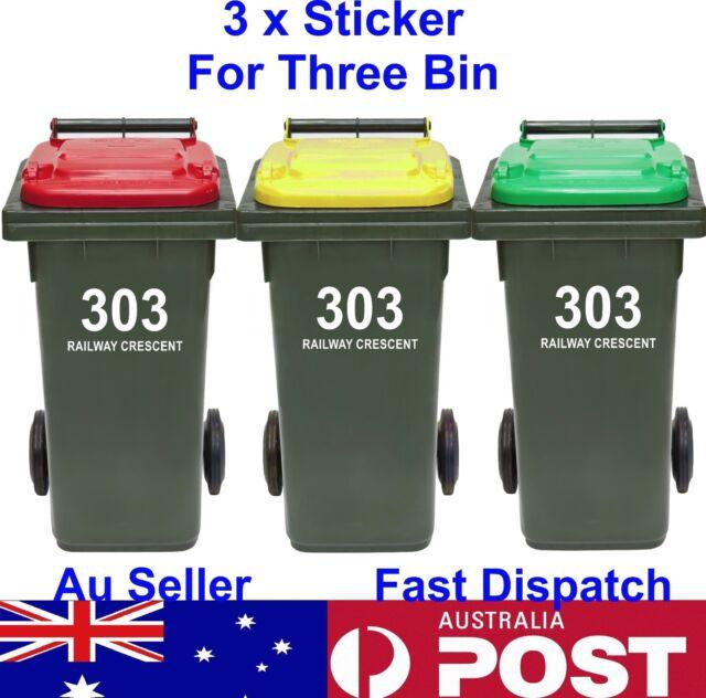 3x Rubbish Bin Sticker house number street name Decal Garbage wheelie bin sign