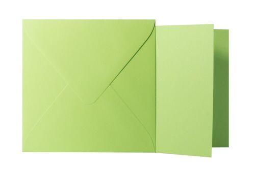 Klappkarten quadratisch Hell Grün 15x15 cm // 14,5x14,5 cm 25x Briefumschläge