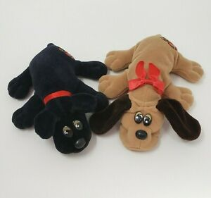 2-VINTAGE-TONKA-POUND-PUPPIES-TAN-amp-BLACK-PUPPY-DOG-STUFFED-ANIMAL-PLUSH-TOY-C