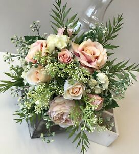 Details About Rustic Wedding Bouquet Boho Flowers Peach Pink Roses Bouquets Silk Wild Flower