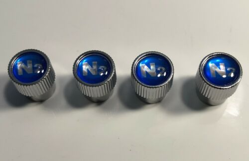 With 4  Nitrogen VALVE STEM CAPS Blue N2 inlayed..