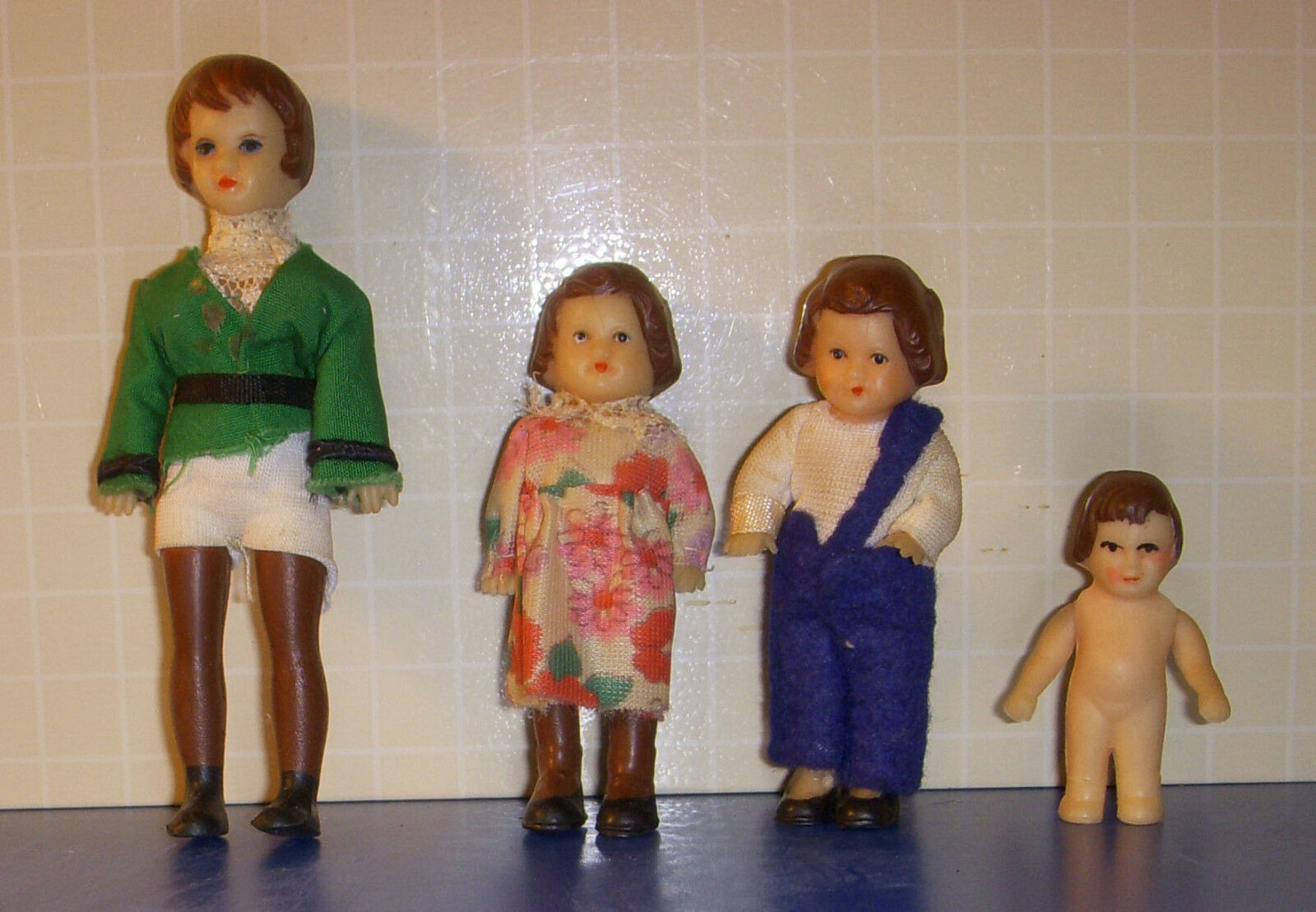 4 Rubber German Jointed Dolls Dollhouse 2 to 5 Inches Vintage