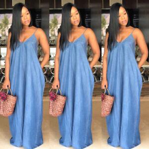 2018 New Plus Size Boho Backelss Summer Long Denim Maxi Dress Women ...
