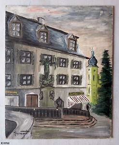 Tableau-ancien-1958-Huile-sur-carton-toile-034-Postplatz-a-Donaueschingen-034
