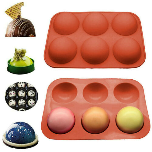 6 Holes Silicone Mold 3D Half Ball Sphere Chocolate Cake Pastry Mold Baking Pan