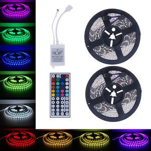 10M-12V-RGB-5050-LED-Streifen-Strip-Band-Leiste-600-SMD-44Key-Remote-IR-Netzteil