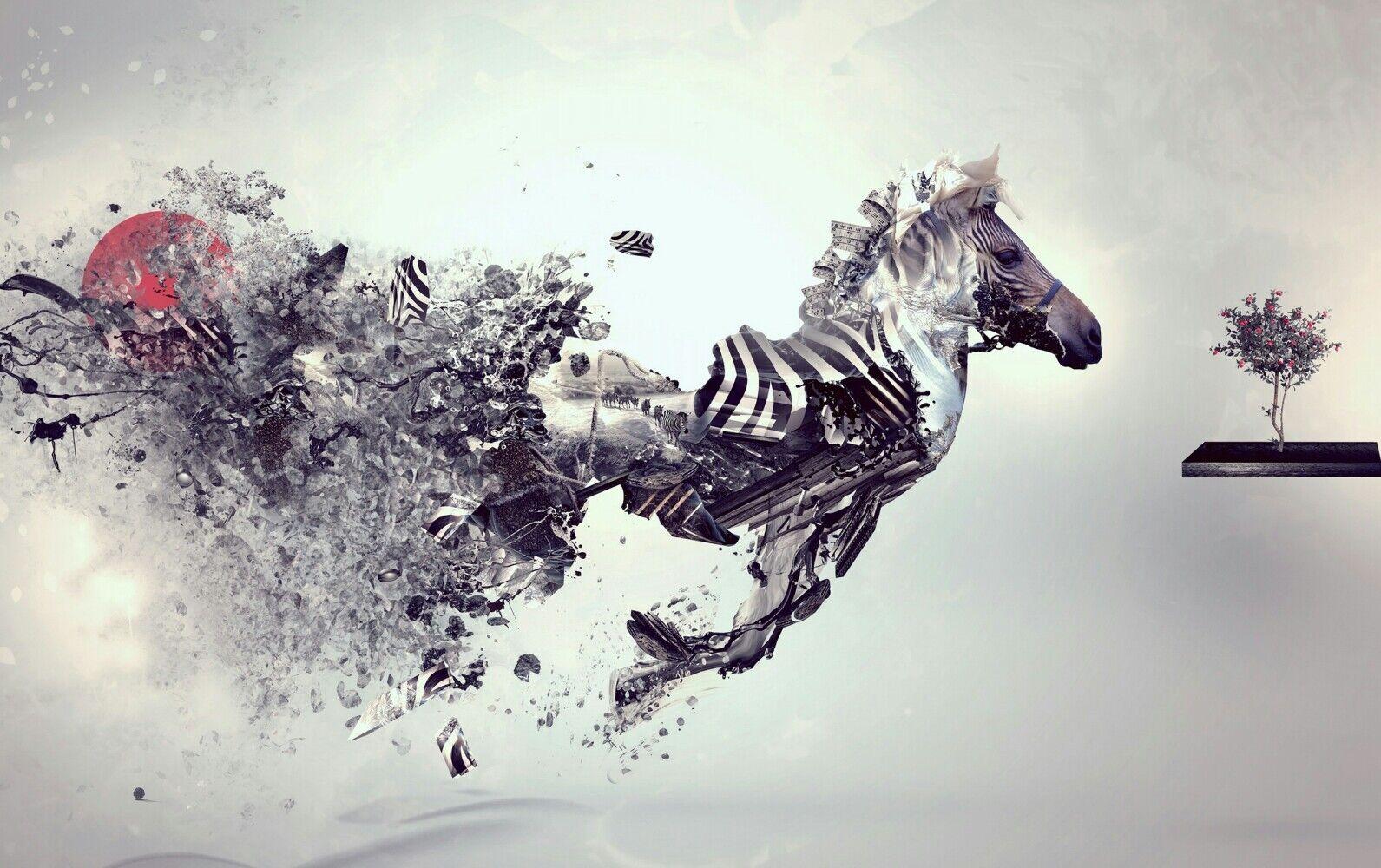 Zebra astratto-albero di di di vernice allevamento moderno Grande Muro Poster & STAMPA FOTO SU TELA 38cba2
