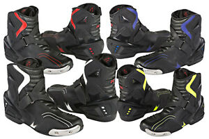 MENS-HiViz-Short-Style-Ankle-MOTORBIKE-MOTORCYCLE-RACING-Leather-BOOTS-SHOES