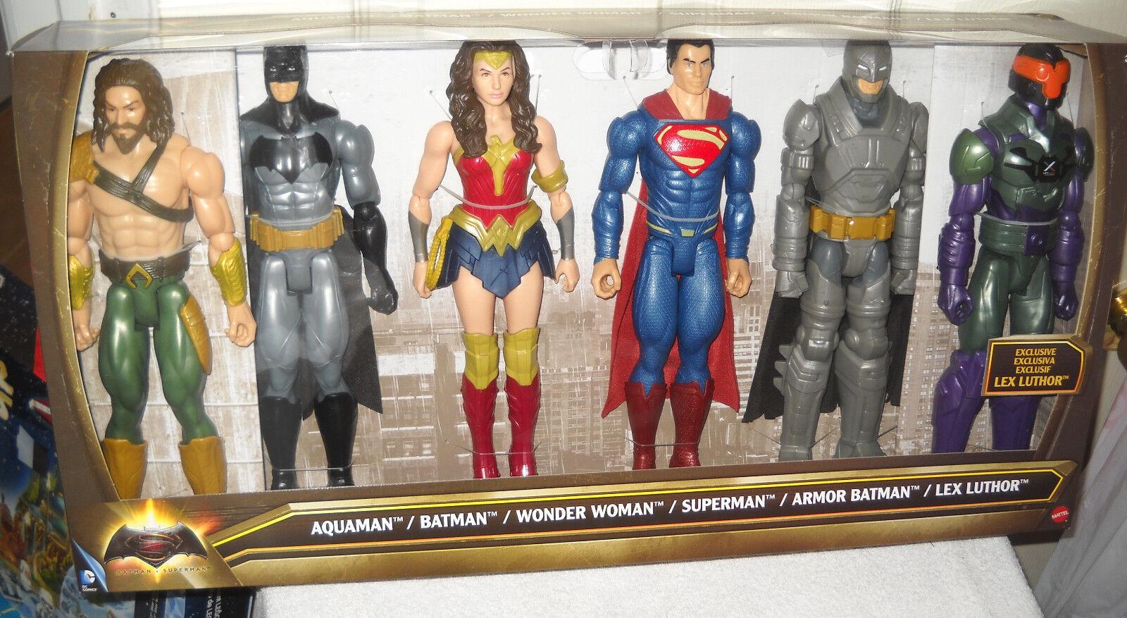 9384 NRFB Mattel Batman Superman 6 Doll Action Figure Set