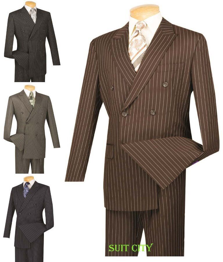 Uomo Dress Double Suit Double Dress Breasted 6 Buttons Classic Fit Pin Stripe Four Colors 76276a