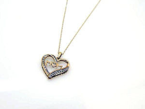10Kt Solid gold Chain with Diamond MOM Pendant