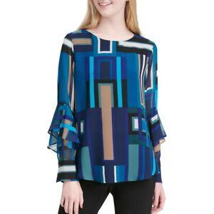 CALVIN-KLEIN-Women-039-s-Printed-Ruffle-Sleeve-Blouse-Shirt-Top-TEDO