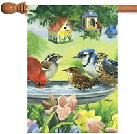 Toland - Bathing Birds - Colorful Spring Flower Bird Bath House Flag