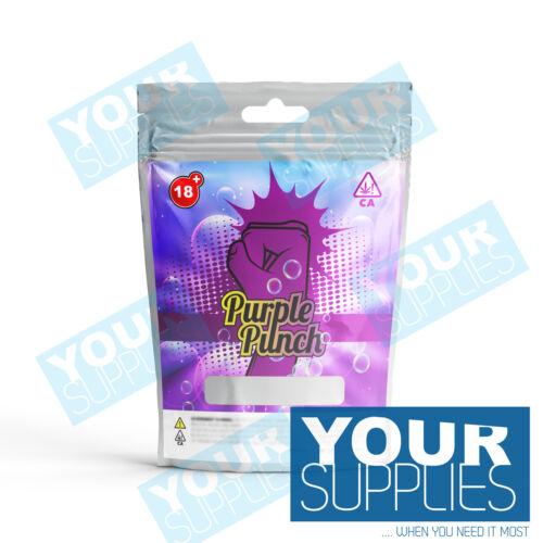 25 or 50 Purple Punch Mylar Label Bag 3.5g Heatsealable Cali Food Safe 10 5