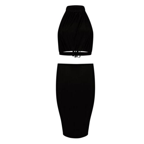 Womens Ladies Polo Neck Slinky Back Tie Midi Pencil Skirt 2 Piece Set Crop Top