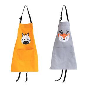 Adult Children Cartoon Cotton Apron Kitchen Cooking Baking Bib Aprons Waterproof Ebay